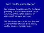 from the pakistan report