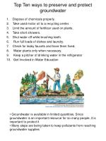 top ten ways to preserve and protect groundwater