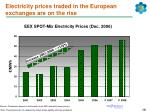 electricity prices traded in the european exchanges are on the rise