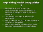 explaining health inequalities 3