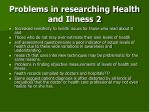 problems in researching health and illness 2