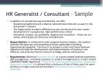 hr generalist consultant sample