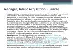 manager talent acquisition sample