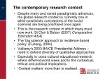the contemporary research context