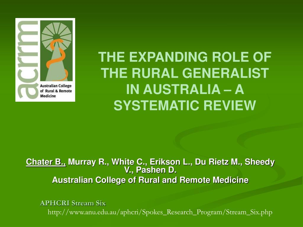 the expanding role of the rural generalist in australia a systematic review l.