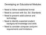 developing an educational modules