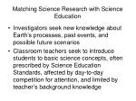 matching science research with science education