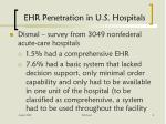 ehr penetration in u s hospitals