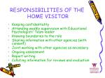 responsibilities of the home visitor
