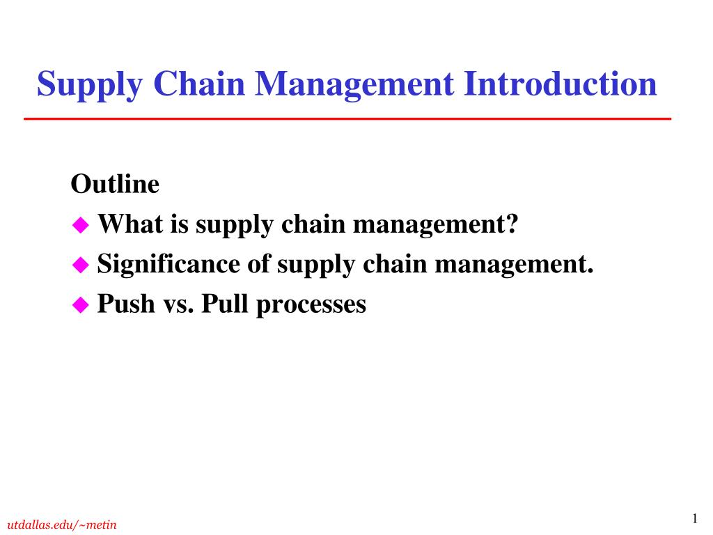 supply chain management introduction l.