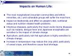 impacts on human life