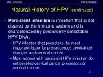 natural history of hpv continued