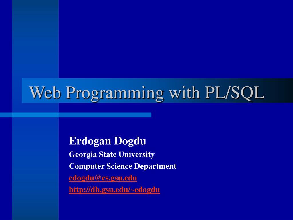web programming with pl sql l.