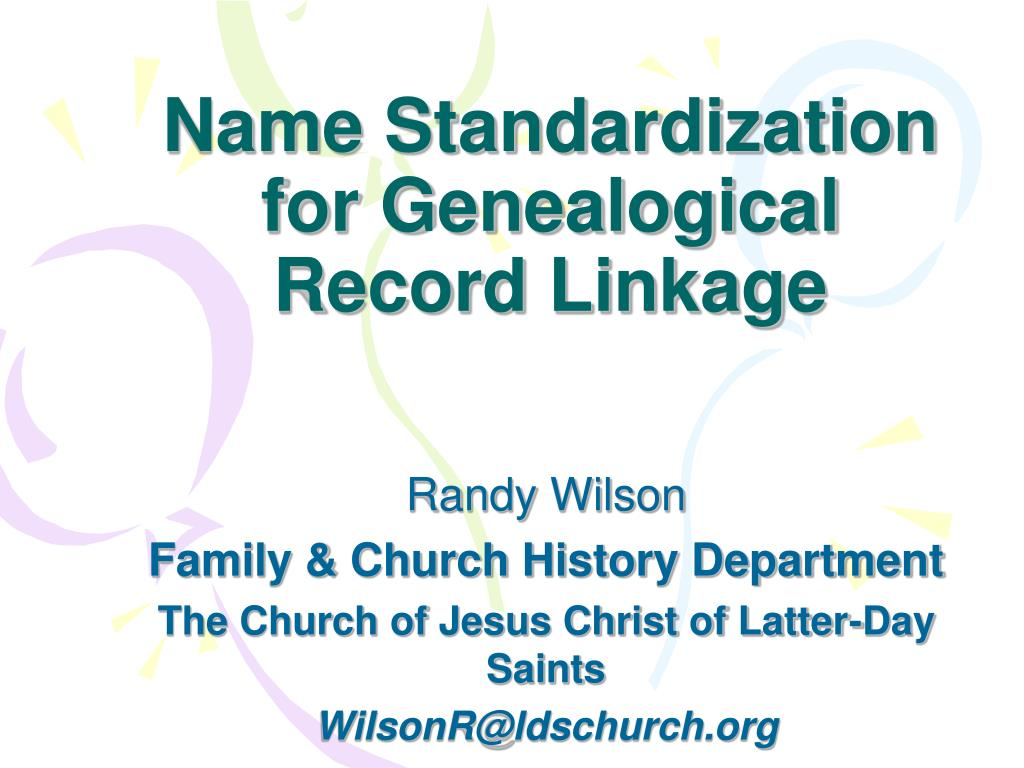 name standardization for genealogical record linkage l.