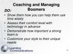 coaching and managing boomers