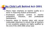 no child left behind act 2001