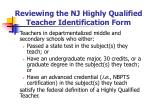 reviewing the nj highly qualified teacher identification form20
