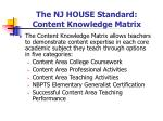 the nj house standard content knowledge matrix