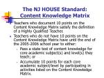 the nj house standard content knowledge matrix24