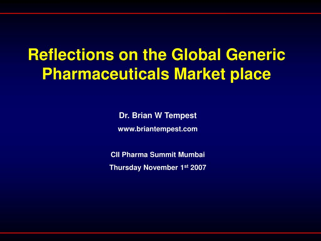 reflections on the global generic pharmaceuticals market place l.