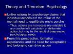 theory and terrorism psychology
