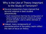 why is the use of theory important to the study of terrorism