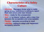 characteristics of a safety culture
