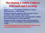 developing a safety culture informed and learning