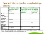 productivity losses due to malnutrition in india