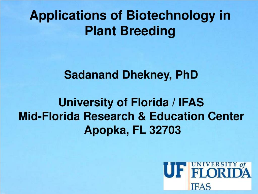 applications of biotechnology in plant breeding l.