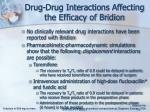 drug drug interactions affecting the efficacy of bridion