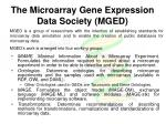 the microarray gene expression data society mged