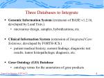 three databases to integrate