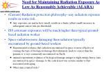 need for maintaining radiation exposure as low as reasonably achievable alara