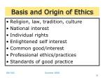 basis and origin of ethics