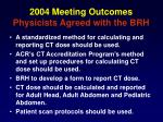 2004 meeting outcomes physicists agreed with the brh