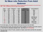 nj mean mas reduction from adult abdomen