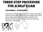 three step procedure for a self exam