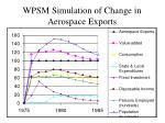 wpsm simulation of change in aerospace exports