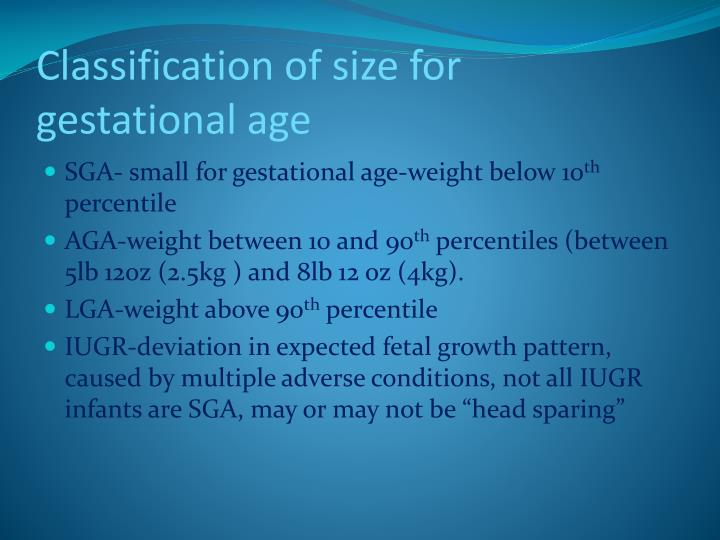 Classification of size for