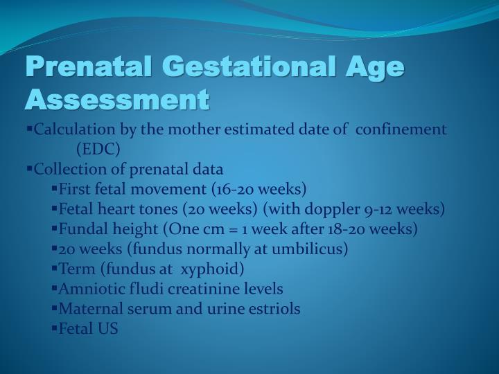 Prenatal gestational age assessment