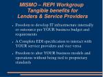 mismo repi workgroup tangible benefits for lenders service providers