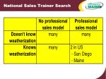 national sales trainer search