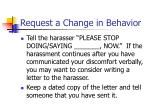 request a change in behavior