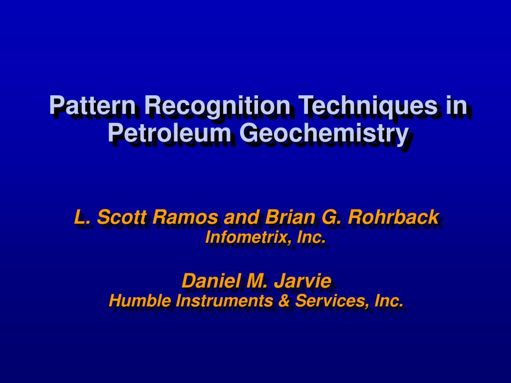 pattern recognition techniques in petroleum geochemistry l.