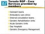 toronto rgp core services provided by members