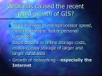 what has caused the recent rapid growth of gis