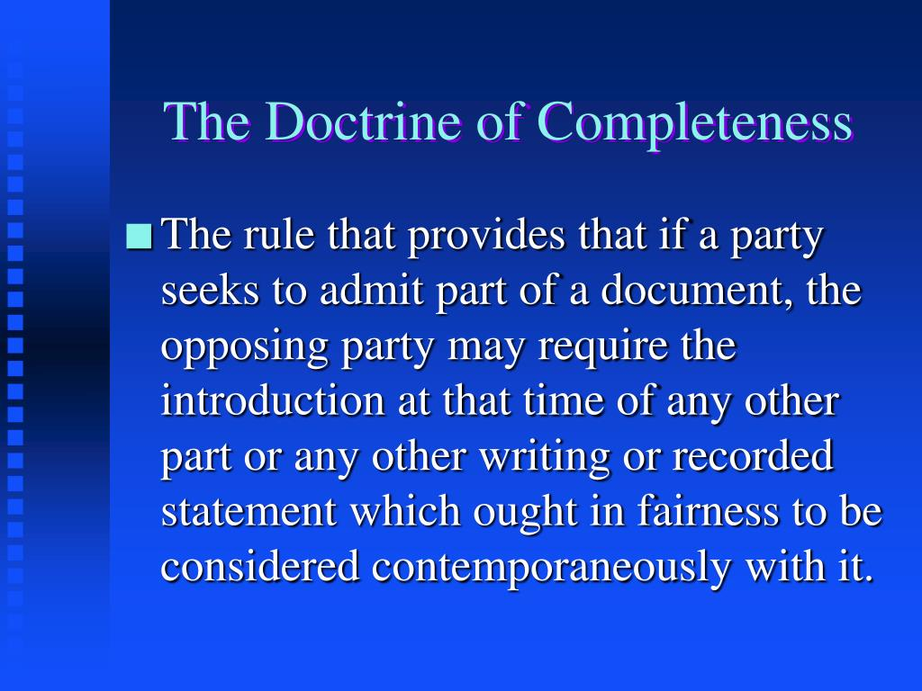 The Doctrine of Completeness