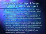 summary of findings of support from all three studies cont