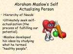 abraham maslow s self actualizing person